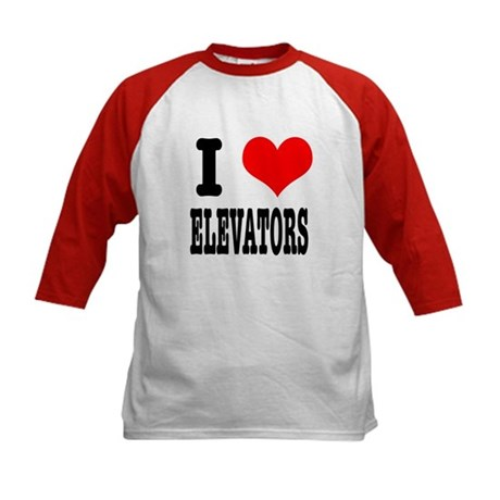 I Heart (Love) Elevators Kids Baseball Jersey
