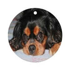 Puppy King Charles Spaniels Pillow Round Ornament