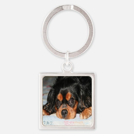 Puppy King Charles Spaniels Pillow Square Keychain
