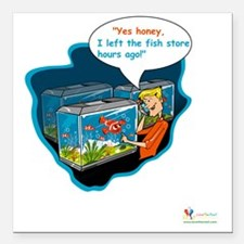 "LTR - Left The Fish Stor Square Car Magnet 3"" x 3"""