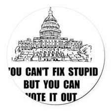 Vote Out Stupid Round Car Magnet