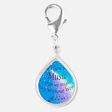 God Gave Us Music Silver Teardrop Charm