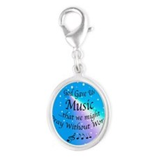 God Gave Us Music Silver Oval Charm