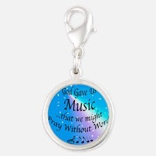God Gave Us Music Silver Round Charm
