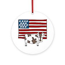 Patriotic Cow Round Ornament