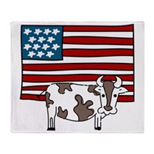 Patriotic Cow Throw Blanket