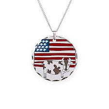 Patriotic Cow Necklace