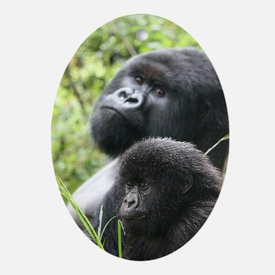 Mountain Gorilla Father  Son Oval Ornament