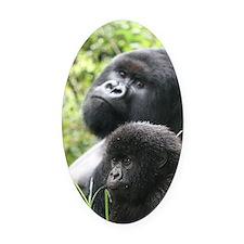 Mountain Gorilla Father  Son Oval Car Magnet