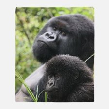Mountain Gorilla Father  Son Throw Blanket