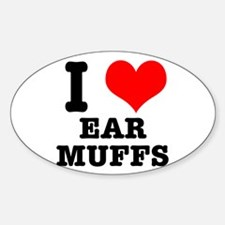 I Heart (Love) Ear Muffs Oval Decal