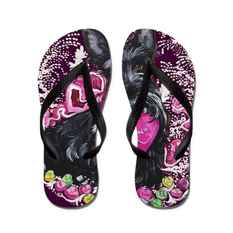 Scottish Terrier Valentine Flip Flops