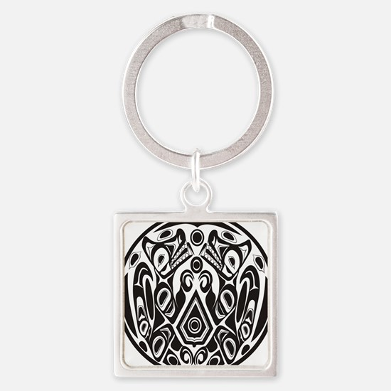 Wolfpack Tattoo Square Keychain