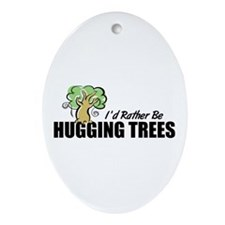Hugging Trees Oval Ornament