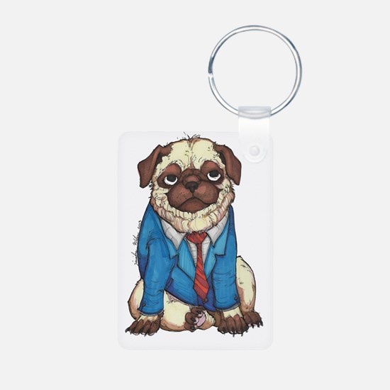 Business Pug in Full Color Aluminum Photo Keychain