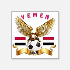 "Yemen Football Designs Square Sticker 3"" x 3"""