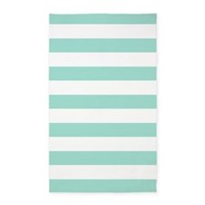 Mint Blue And White Stripes 3'X5' Area Rug