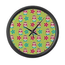 Matryoshka Duvet Cover Large Wall Clock