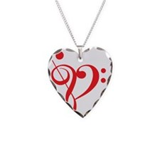 I love music, red heart with  Necklace Heart Charm