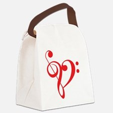I love music, red heart with musi Canvas Lunch Bag