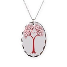 red love tree with heart branc Necklace