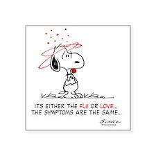 "Snoopy Valentines Day Square Sticker 3"" x 3"""