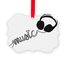 headphone silhouette with music Ornament