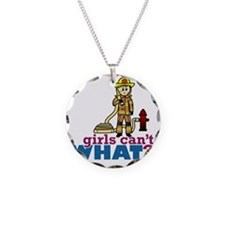 Firefighter Girls Necklace Circle Charm