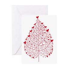 red heart leaf Greeting Card