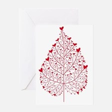red heart leaf Greeting Card