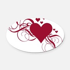 red heart with swirls Oval Car Magnet