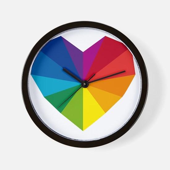 colorful geometric heart Wall Clock