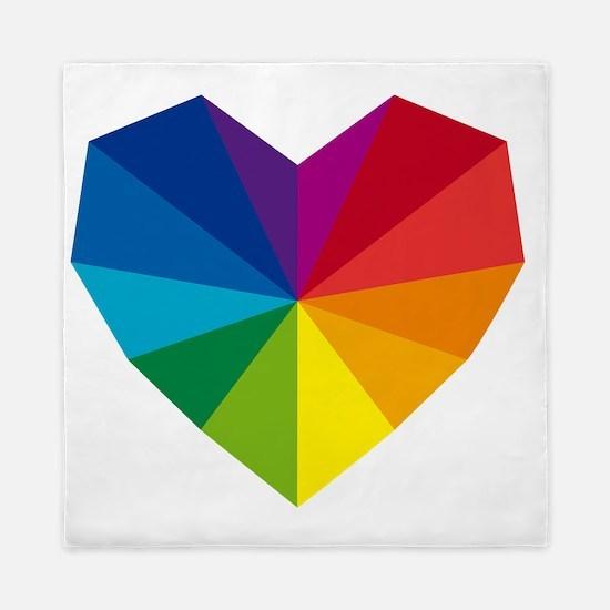 colorful geometric heart Queen Duvet