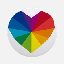 colorful geometric heart Round Ornament