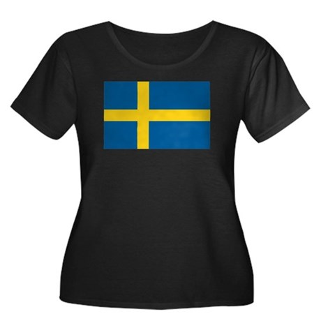 Sweden Flag Women's Plus Size Scoop Neck Dark T-Sh