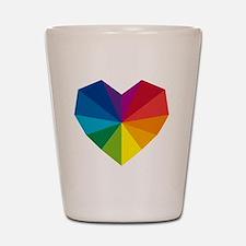 colorful geometric heart Shot Glass