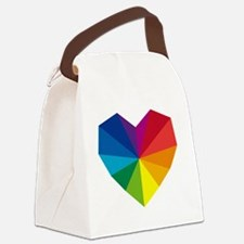 colorful geometric heart Canvas Lunch Bag