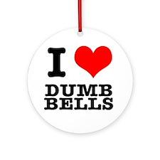 I Heart (Love) Dumb Bells Ornament (Round)