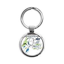 911 Dispatcher, blue and green Round Keychain