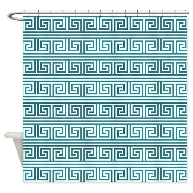 Teal Greek Key Print Pattern Shower Curtain By Cierraspatterndecorandgifts