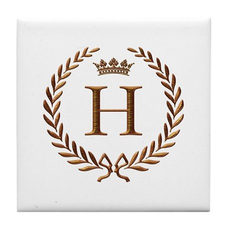 Napoleon Initial Letter H Monogram Tile Coaster By Jackthelads