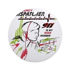 911 dispatcher, red and green Round Ornament