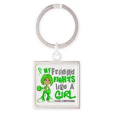 D Friend Fights Like Girl Lymphoma Square Keychain