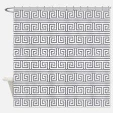 gray greek key shower curtains | gray greek key fabric shower
