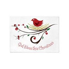 God Bless this Christmas 5'x7'Area Rug