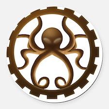 Octo-gear (brown) Round Car Magnet
