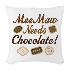 MeeMaw Chocolate Woven Throw Pillow