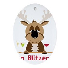 On Blitzen! Oval Ornament
