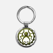 octo-gear (green) Round Keychain
