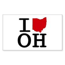 I Heart Ohio Rectangle Decal